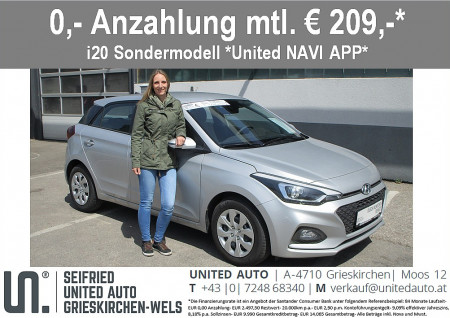 Hyundai i20 1,25 Level 3 Navi-App Edition, Rückfahrkamera, beheizb. Lenkr., Sitzheizg., Einparkhilfe hinten bei BM || Seifried United Auto Grieskirchen Wels in